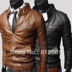 Free shipping 2013 autumn and winter New products Mens Fashion transverse slim leather coats mans stand collar leisure jackets(China (Mainland))