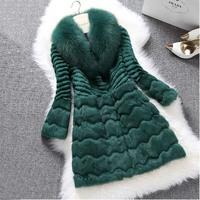 Fashion Real Rabbit Fur Coat Jacket Long Style with Raccoon Fur Collar Genuine Design Women's Worm Autumn Winter Coat EMS Free