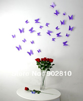[listed in stock] -wall stickers 12pcs/pack 6big+6small 3d PVC Purple Decorative butterfly Wall sticker