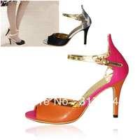 Women high-heeled sandals women's  sexy thin  high-heeled  fashion patchwork summer u.s. shoe