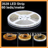 Free shipping Holiday Decoration DC12V 3528 led strip light  ribbon single color led strip light 60led/m Non-waterproof CE&RoHS