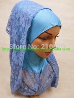 Newest 2014 softy mercerized cotton MUSLIM LACE SCARF HIJAB