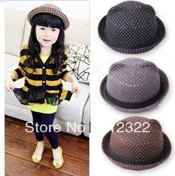 3 Colors Baby Hat Children Summer 100%Wool Fedora Hat Kids Top Hat Jazz Cap Sunhat Dot Print 10pcs Free Shipping(China (Mainland))