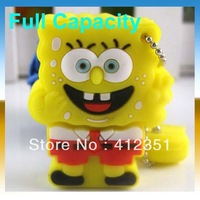 Free Shipping Real Capacity 2GB 4GB 8GB 16GB 32GB Spongebob shape USB flash Drive Disk usb gift