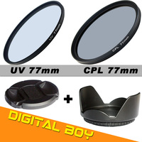 Digital Boy 77mm CPL polarizing Filter+77mm UV Filter+Lens cap+Lens hood Kit for Canon/Nikon 24-70 24-105 70-200