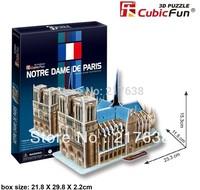 3D puzzle NOTRE DAME DE PARIS building model middle size ,  educational DIY toys, free shipping.