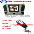 Hidden Camera Alarm Clock IR Night With Remote Control 2.5&quot;LCD w/ Motion Detection 1pc China Post Free Shiping AVP022D