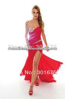 one shouler long sleeves floor length evening dresses