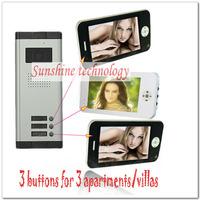 Hot villas video door phone/intercoms/video door bells  ( 3 keys outdoor camera+3pcs 7inch color TFT LCD ) Free shipping
