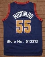 (can mix jersey)!!! Free Shipping! #55 Dikembe Mutombo throwback blue jersey