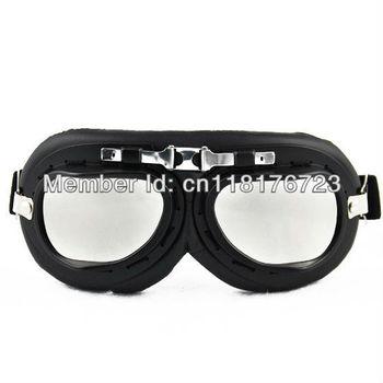 WWII Military Army German Design Black Frame Sun UV Protect Wind Biker Jet Goggles Sporty BMX Motorcycle Eye Gear Eyewear