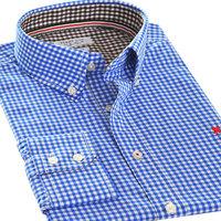 New 2014 fashion casual slim fit  shirt  100% cotton long  sleeve Plaid   camisa  shirts  6 color  30021S  M  L XL XXL