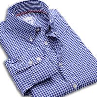 Fashion Casual  100% cotton men slim fit shirt   plaid long sleeve  shirts 6 color  30010  S  M L XL XXL