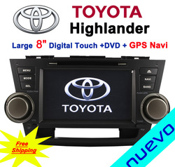 Free shipping: 8 inch Toyota Highlander Car DVD with GPS Bluetooth ATV Radio iPod USB(2008-2012)(China (Mainland))