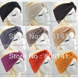 100 pcs/Lot Winter women Wholesale Knit Hairband Crochet warmer Head wrap Headband Ear Warmer Gift