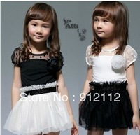 FREE shipping! New Kids Toddlers Girls White Black Flower Princess Tutu Mini Dress 2~ 7yrs