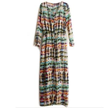 Multi-Color Dip Dye Shirred Waist Chiffon Long Cardigan Shirt Blouse Dress 3829