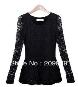 New utumn winter ladys' wear long sleeve lace moral culture the shirt circle get to add Rong to thicken female type blouse(China (Mainland))