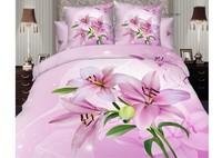 cotton mordern design pink lily flower floral pattern printed bedlinen 4pcs queen/full bedding sets comforter/quilt/duvet covers