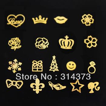 U Pick 1 Style 500pcs/LOT Fashion Gold Metal Metallic Slice Acrylic Salon Nail Art Decal Tips Scrapbooking DIY Design Decoration