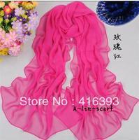2013New Arrival wholesale A-lin-scarf Chiffon pure color scarf/ Silk chiffon 165*55cm