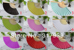 [I AM YOUR FANS] Free Shipping 50pcs/lot Nice paper hand fan/15colors for choice(China (Mainland))