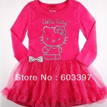 new Free Shipping,children clothing 5pcs/lot girls dresses for summer long sleeve dress hello kitty princess dress