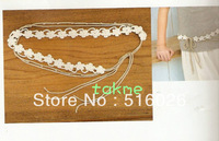 Skinny Flowers Chain Belt, hand crochet ivory flowers WAIST BELT, natural colors- 5pcs/lot