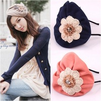 Free shipping Retro beret winter women's  warm hat hairbands hair accessory 2pc/lot