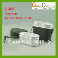 Free Shipping MT01-13 3pcs Aluminium German mess tin set Wholesale/Retail