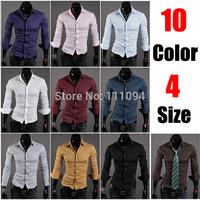 2014 new fashion  Mens Slim fit Unique neckline stylish Dress long Sleeve Shirts Mens dress shirts