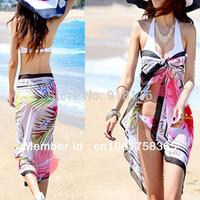 Summer  Women Lady Sexy Chiffon Wrap Sarong Beach Swimwear Swimsuit  Bikini  Floral Scarf Swimsuit Cover Up Scarf Dress