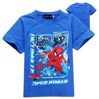 2014 new baby cartoon spiderman t-shirt boys girls short sleeve sports tees children Summer cotton clothing kids baby tops