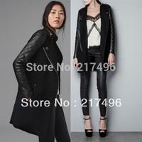 Women's Faux PU Leather Splice Woollen Standup Collar Epaulet Trench Coat Winter Black Casacos Wholesale Europe Female Overcoat