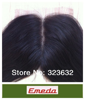 Free shipping 2014 hot sell fashion black natural straight Indian remy hair middle part lace closure