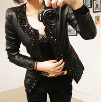 Explosion models! 2013 Korean version of Women Autumn Slim leather jacket short paragraph diamondr free shipping