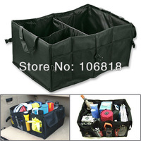 1pc Black Oxford Fabric Multipurpose Car SUV Organizer Folding Collapsible Foldable Storage Box Bag Case For Travel Trip Camping