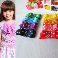 Fashion Baby Girl Hair Clips Spot Ribbon Double Hair Bows Hair Accessories 8 Color