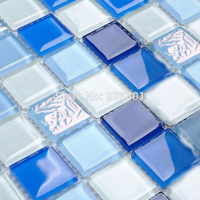 Witte glasmoza ek tegel backsplash deco mesh blauw kristal glazen badkamer tegels kgt218 - Deco witte tegel ...