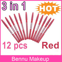3 sets/lot 12 Colors Red 3 in 1 Cosmetic Eyeliner Pen Lip Eye Eyebrow Liner Pencil Makeup Make Up set , Free Shipping