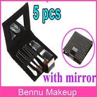 Promotions!! 5 PCS Portable Mini Shiny Makeup Brushes Set Bag with Mirror Cosmetic ,Free Shipping Dropshipping