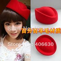 free shipping red Wool hat fedoras beret stewardess cap ship cap formal cap