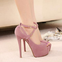 Free Shipping high-heeled shoes wedding shoes platform fashion women's Vogue Crossover Hasp shoes peep toe pumps red bottom