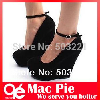 Brand sexy fashion women's genuine Platform high heels Wedges Buckle shoes