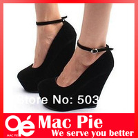 Brand sexy fashion women's genuine Platform high heels Wedges Buckle shoes