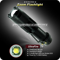 1PC Ultrafire 800 Lumen Zoomable CREE XM-L T6 18650 5 Mode LED Flashlight Torch Zoom Adjustable Lamp Light