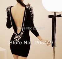 Free shipping Sexy big racerback pearl inlaying elegant ladies slim hip winter basic one-piece dress