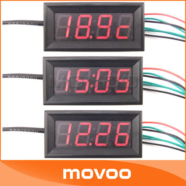 "5pcs/lot 056"" 12/24V 4 Digit LED Car Watch/Time Temperature Sensor Voltage Digital voltmeter 3-in-1 DC 7-30V #090656(China (Mainland))"
