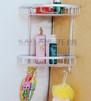 Free shipping Aluminum 2 tier corner bathroom shelf cosmetics holder with hooks bathroom fitting space aluminum anti rust