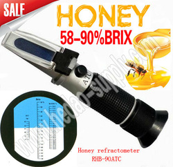 Free shipping hot sale New Design Handy Portable 58-90% Brix Honey Handheld Refractometer Baume Beekeeping Bees with ATC(China (Mainland))